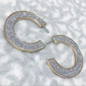 Glitter Hoop Earrings Wide Silver Gold Sparkle C